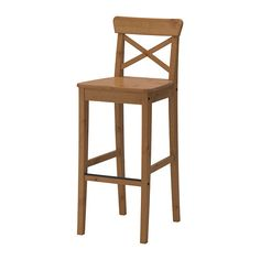 IKEA - INGOLF, Bar stool with backrest, available in 63cm and 74cm seat height. Measure the one you need before buying