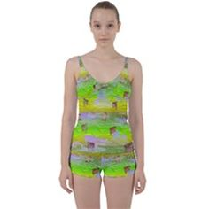Cows And Clouds In The Green Fields Tie Front Two Piece Tankini by CosmicEsoteric