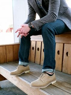 Grey blazer, jeans, tan derby shoes