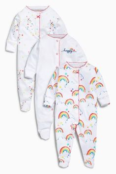 Buy White Rainbow Sleepsuits Three Pack (0mths-2yrs) online today at Next: United States of America