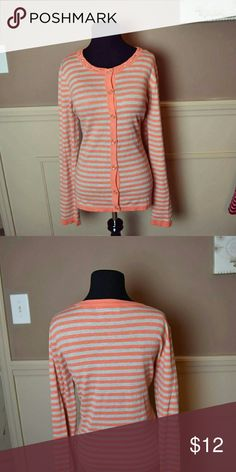 GORGEOUS Peach & Cream Striped Cardigan In excellent condition! Very soft and beautiful! Sweaters Cardigans
