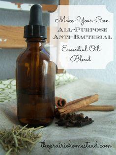 DIY All-Purpose Anti-Bacterial Essential Oil Blend-- full recipe---> http://www.theprairiehomestead.com/2013/01/diy-thieves-oil-recipe.html