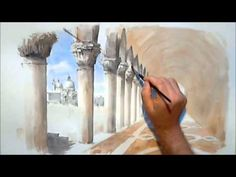 ▶ How to paint a Watercolour/watercolor Venetian sketch by Trevor Waugh - YouTube