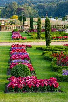 Trentham Gardens, Staffordshire: The Italian Garden - The Upper Garden With Formal Bedding In Evening Light Postcards, Greetings Cards, Art Prints, Canvas, Framed Pictures, T-shirts & Wall Art by Clive Nichols