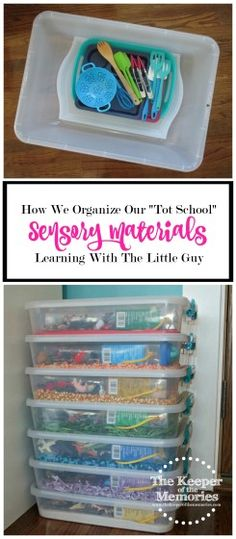 "How We Organize Our Tot School Sensory Materials Have you accumulated entirely too many ""Tot School"" sensory materials? Check out how this creative mama organized all of her sensory tools & supplies. This is awesome! Sensory Activities Toddlers, Sensory Tubs, Sensory Boxes, Kids Learning Activities, Sensory Play, Teaching Ideas, Kindergarten Sensory, Teaching Boys, Sensory Diet"