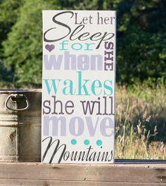 Let Her Sleep, Pottery Barn Brooklyn, Vintage, Rustic, Hand Painted, Sign, Brooklyn, Nursery, Baby Shower Gift, Pottery Barn Nursery on Etsy, $39.99