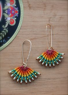 macrame earrings tribal earrings colorfull earrings fan earrings boho earrings turquoise and gold earrings ethnic earrings makrame Macrame Earrings, Tribal Earrings, Big Earrings, Macrame Jewelry, Turquoise Earrings, Indian Earrings, Statement Earrings, Bead Crafts, Jewelry Crafts