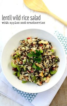 Citrus wild rice lentil salad with cranberries and apples - a tasty and healthy side dish! Gluten free.