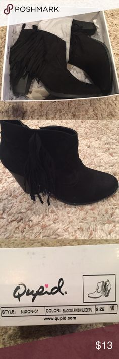 Black fringe ankle booties Size 10 Suede fringe booties. So cute! Ordered a 10 online and I wear a size 9 so they've never been worn. Qupid Shoes Ankle Boots & Booties