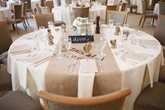 recycled burlap wedding reception table runner