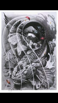 Coy fish sketch by Artem Pelipenko Kunst Tattoos, Bild Tattoos, Irezumi Tattoos, Leg Tattoos, Body Art Tattoos, Tribal Tattoos, Sleeve Tattoos, Koi Tattoo Design, Japanese Tattoo Art