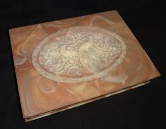 """Extra Large Vintage Incolay Stone Jewelry Box """"Birds of Paradise"""""""