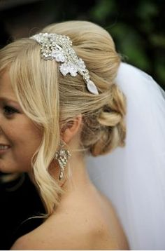 wedding headband and hair.. Except for the huge chunk by the face.. That should be pinned back