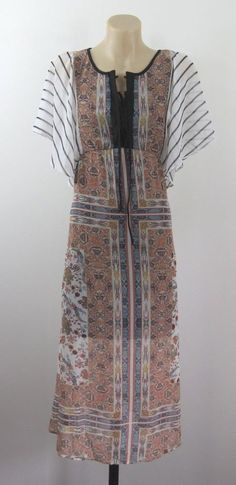 NWT Size S 10 Ladies Dress Paisley Casual Boho Peasant Gypsy Vintage Chic Design #Dotti #ALineDress #Casual