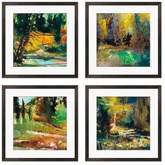 Add a bright, modern look to any room with this four-piece art set by Sylvia Angeli. Make the best use of your wall space by grouping these contemporary landscapes in the way that fits best. Giclee printing brings out these paintings' rich colors.