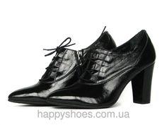 """Черные кожаные с лаковым блеском ботильоны со шнуровкой: продажа, цена в Запорожье. туфли женские от """"HappyShoes"""" - 255359416"""