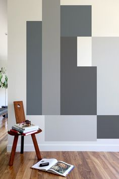 Blik Wall Decals: Color Block Parallel #bafco #bafcointeriors Visit www.bafco.com for more interior inspirations.