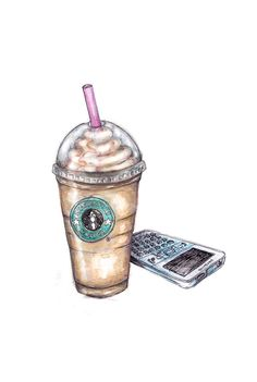 Watercolor Art Illustration Starbucks Birght Soft Drawing