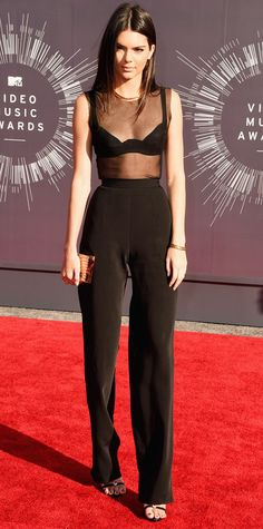 Video Music Awards 2014 Red Carpet Arrivals - Kendall Jenner in an Alon Livne top and trousers, La Perla bra, Jennifer Fisher jewelry, and Giuseppe Zanotti shoes. #InStyle #VMA2014 #RedCarpet