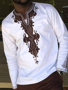 African Fashion Dashiki Style Print Color Block Casual V-Neck Loose Men's T-shirt African Shirts For Men, African Dresses Men, African Clothing For Men, African Attire, Nigerian Men Fashion, African Men Fashion, Mens Fashion, Fashion Outfits, Fashion Ideas