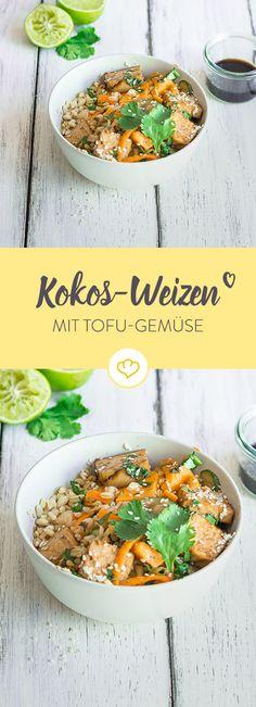 Warum dieses Gericht so lecker ist? Erstens: Weil wir den Weizen in Kokosmilch und Koriander kochen. Zweitens: Weil der Tofu mariniert und gebacken wird.