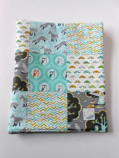 Minky Patchwork Baby Boy Blanket Quilt Michael Miller Les Amis Fox and Owl Forest Friends--Made to Order on Etsy, $58.00