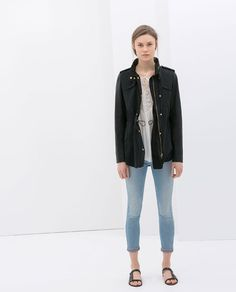 Image 1 of PARKA WITH FAUX LEATHER SLEEVES from Zara