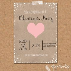 Rustic Valentines Party Invitation LIMITED EDITION by QTPrints, $10.00