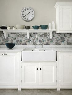 "We are in love with these patchwork tiles for a country kitchen backsplash. And Artistic Tile has created the patchwork pattern for you - right in each tile. These 12""..."