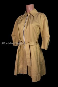 LIDA BADAY Jacket 6 S Cotton Silk Curry Pleated Belted Trench Origami Coat #LidaBaday #BasicJacket #Business