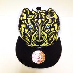 Wolf design custom hand-painted snapback hat. animal wolfpack glow in the dark eyes. manik designs
