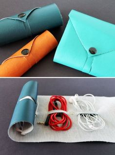 DIY Back to School Projects for Teens and Tweens Handmade cord roll to keep cords and earbuds from tangling and organized while being fashionable via Brit Co
