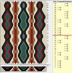 40 cards, 7 colors, repeats every 16 rows GTT༺❁ Card Weaving, Weaving Art, Loom Weaving, Inkle Weaving Patterns, Weaving Textiles, Iris Folding Pattern, Finger Weaving, Inkle Loom, Card Patterns