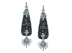 """Erica Courtney's black carved jade and platinum deco-inspired earrings with diamonds and green beryl ($36,400).    """"Jade has a high value perception,"""" O'Connor says, """"and that could go back to pieces getting bigger and designers using more opaque stones."""""""