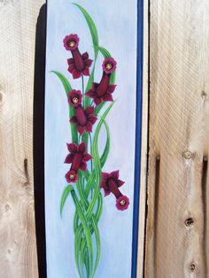 Wall Hanging, Burgundy, Daffodils, Wood Plaque, Hand Painted, Handmade. , via Etsy.