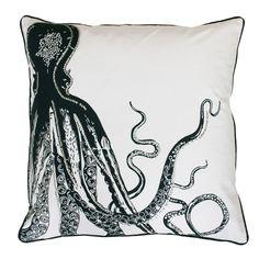 Octopus Pillow Navy on White | Dorm Room Decor | OCM.com