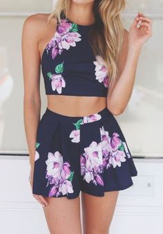 navy two piece, with bright purple floral print.