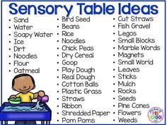 Sensory Table Ideas - HUGE sensory filler list, HUGE sensory tools list (planning ideas too) for preschool, pre-k, or kindergarten classroom. Preschool Rooms, Preschool Centers, Preschool Science, Preschool Classroom, Preschool Learning, Classroom Activities, In Kindergarten, Preschool Activities, Early Learning