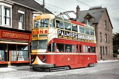 Sunderland rear offside, passing a Vaux off-licence in Chester Road and bound for Roker. Wednesday Sept 1952 : photo by Richard Wiseman, colour by Malcolm Fraser Vintage Comic Books, Vintage Comics, Light Rail, Sunderland, Durham, Public Transport, Chester, Old Photos, Transportation