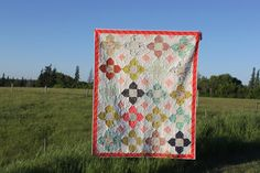 Tokyo Star Flowers Quilt, PDF Quilt Pattern, Layer Cake Pattern, ModernThrow Quilt, Layer Cake charm square friendly, easy quilt