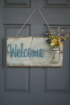 Rustic Outdoor Welcome Sign in blue/white - Wood Signs - Front Door Sign - Rustic Home Decor - Wedding Gift - Home Decor - Custom Sign Mason Jars, Mason Jar Crafts, Pallet Crafts, Wood Crafts, Primitive Crafts, Wooden Board Crafts, Wooden Boards, Primitive Signs, Wooden Art