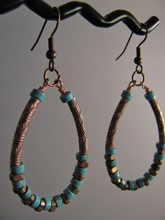 Copper and turquoise hoop earrings by CrayzikatJewelry on Etsy, $20.00