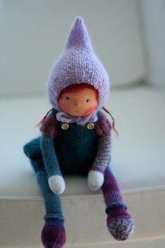 Waldorf knitted doll Elin 13 by Peperuda dolls by danielapetrova