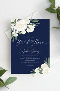 Navy and White Floral Bridal Shower Invitation Template Editable Invite Template Bridal Shower Invitation Wording, Invitation Kits, Invitation Card Design, Wedding Invitation Cards, Wedding Cards, Navy Bridal Shower, Bridal Shower Cakes, Bridal Shower Decorations, Bridal Showers