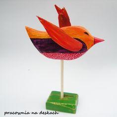 kolorowy ptak w pracownia na deskach na DaWanda.com