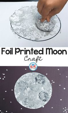 I have a space-obsessed kid in my house, so we love to dospace crafts around here, and my son was very excited to do thismoon craft! We made it extra fun and experimented with a different way to paint by making itfoil-printed. This craft is great for preschool, kindergarten, first grade, or even older kids. It would also be a great art extension during aspace themein the classroom.