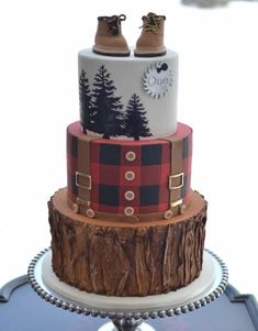 Endless cake decorating inspiration - wedding cakes, birthday cakes for boys and girls, cookies, cupcakes and more. First Birthday Cakes, 1st Boy Birthday, Birthday Parties, Birthday Ideas, Husband Birthday Cake, Christmas Birthday Cake, Lumberjack Cake, Lumberjack Birthday Party, Baby Shower Cakes