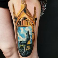 And this gorgeous view of ol' Hoggy Hoggy Hogwarts: Every Harry Potter Fan Needs To See These 33 Enchanting Tattoos Burg Tattoo, Hp Tattoo, Hogwarts Tattoo, World Famous Tattoo Ink, Famous Tattoos, Tattoo Model Mann, Tattoo Models, Harry Potter Tattoos, Literary Tattoos