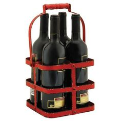 Big Red Metal Four Bottle Carrier