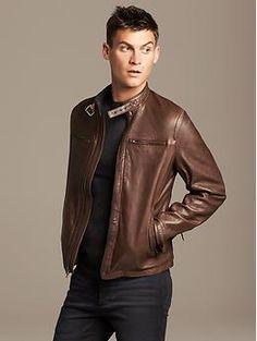 Banana Republic Brown Leather Moto Jacket #menswear #boyfriendstyle